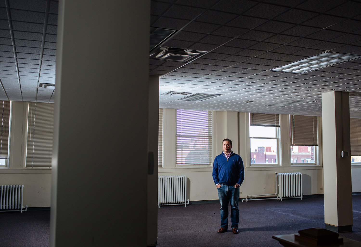 Developer Josh Benthien in the Clapp Memorial Building.