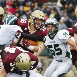 There are no surprises when Bonny Eagle plays Thornton Academy. This will be their third straight meeting in a regional final and every yard is earned, as Michael Laverriere of Thornton discovered in their regular-season game.  Jill Brady/Staff Photographer