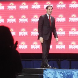 Republican presidential candidate, Sen. Marco Rubio, R- Fla., addresses the Sunshine Summit in Orlando, Florida, on Friday.
