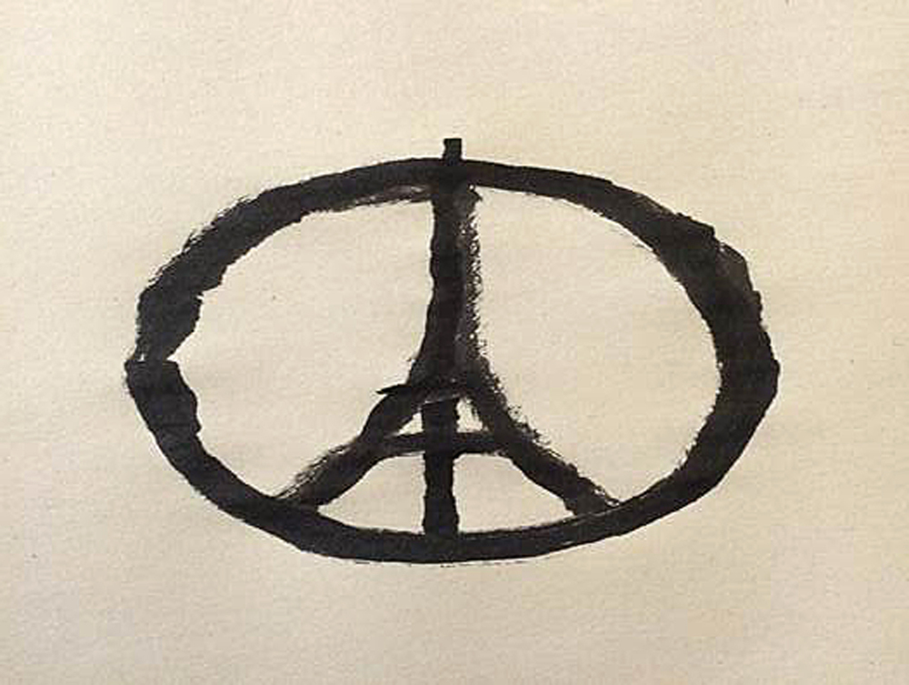 This photograph shows a piece of artwork created by Jean Jullien, a French graphic designer living in London. Jullien said the design came to him by simple association of Paris and peace.