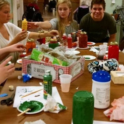 Sanford High School Key Club members, from left, Tiphanie Little, Marissa Nance, Isabella Troop and Michael Lunny create crafts with residents of Newton Center in Sanford.