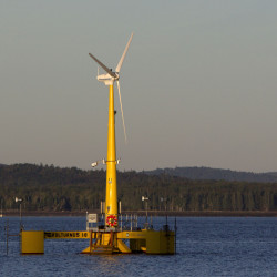 The prototype Volturn US generates power off Castine in 2013. The prototype is a one-eighth-scale model of the floating turbines to be used in a full-scale pilot wind farm planned for deep water off Monhegan Island.