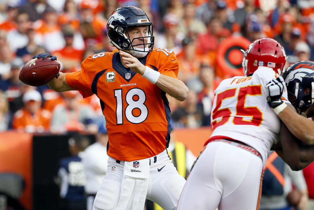 Peyton Manning  went 7-2 as Denver's starter, although he struggled all season with his foot injury, which affected his throwing motion and led to right shoulder and rib injuries as well.