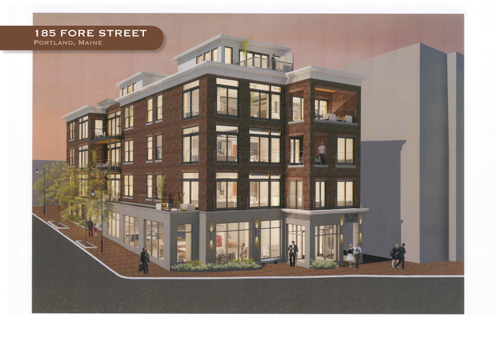One of two planned real estate projects downtown – this one is for a site at 185 Fore St.