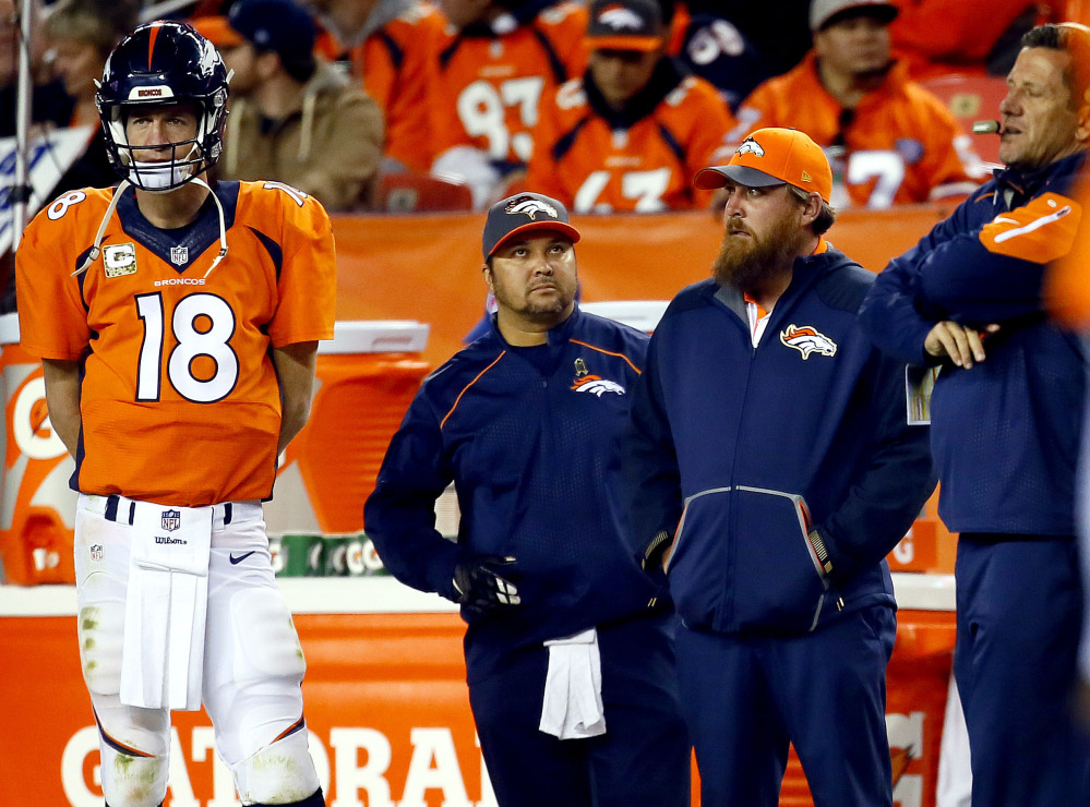 Injuries finally forced Peyton Manning to the sideline putting an end to the worst game of his career. Manning has a sore right shoulder, a rib cage injury and a torn fascia.