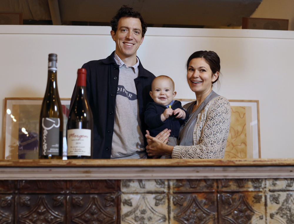 Maine & Loire owners Peter and Orenda Hale, with their 8-month-old son Luca, recommend Georges Descombes Beaujolais Morgon 2014 and Jochen Beurer Riesling Kieselsandstein 2013 to accompany Thanksgiving dinner.