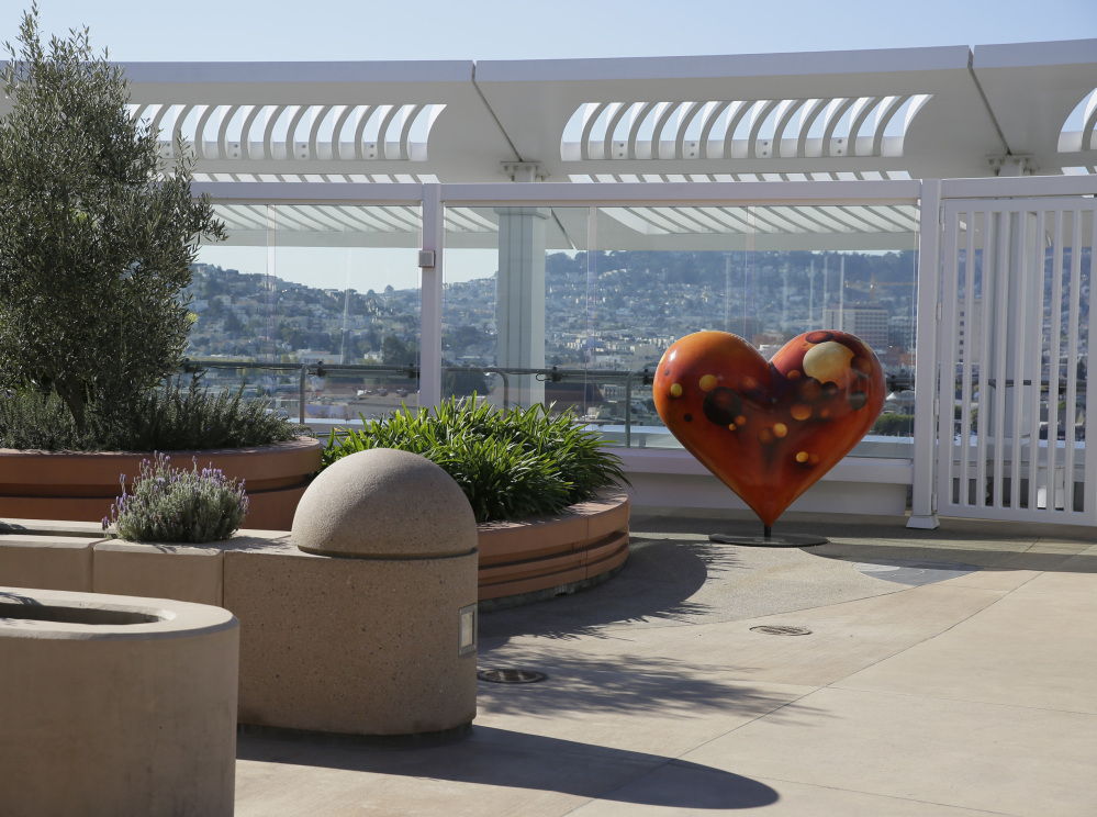 "A ""Public Heart"" sculpture stands on the rooftop meditation garden of Zuckerberg San Francisco General Hospital, which will be dedicated this weekend."
