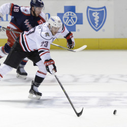 Connor Brickley of the Portland Pirates takes the puck down the ice Nov. 11.  Shawn Patrick Ouellette/Staff Photographer