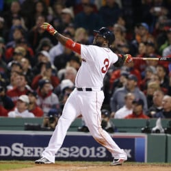 Red Sox David Ortiz watches his two-run homer during the World Series against the St. Louis Cardinals in 2013 in Boston.  The Associated Press
