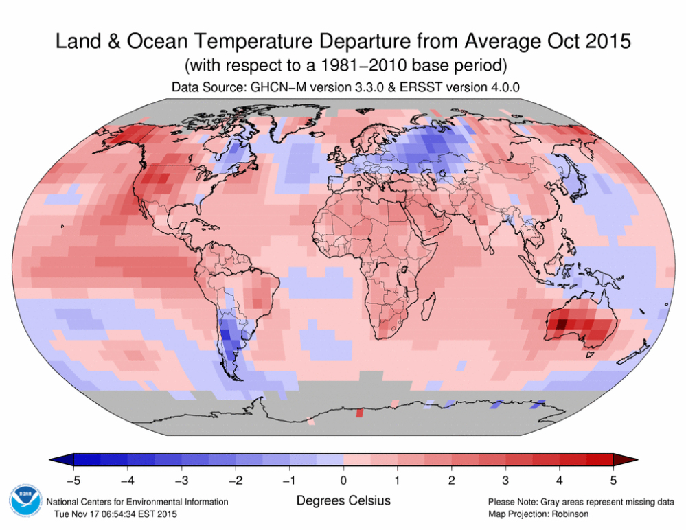 Even for a record breaking hot year for Earth, October stood out as absurdly warm, as shown in a graphic provided by the National Oceanic and Atmosphere Administration.