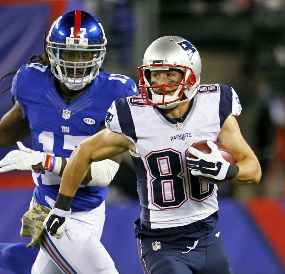 Patriots wide receiver Danny Amendola, right, caught 10 passes for 79 yards Sunday to help New England beat the Giants 27-26 and remain unbeaten. New England lost slot receiver Julian Edelman to a broken foot in that game, and Amendola is the most likely candidate to fill Edelman's role.