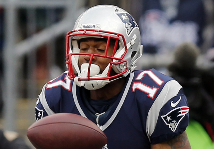 Wide receiver Aaron Dobson suffered an ankle injury in the second quarter and was carted to the locker room. The Associated Press
