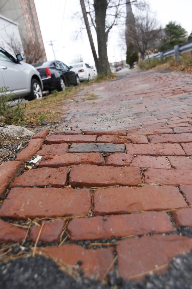 A close-up of the uneven brickwork between Pearl and Franklin Streets in Portland. Jill Brady/Staff Photographer