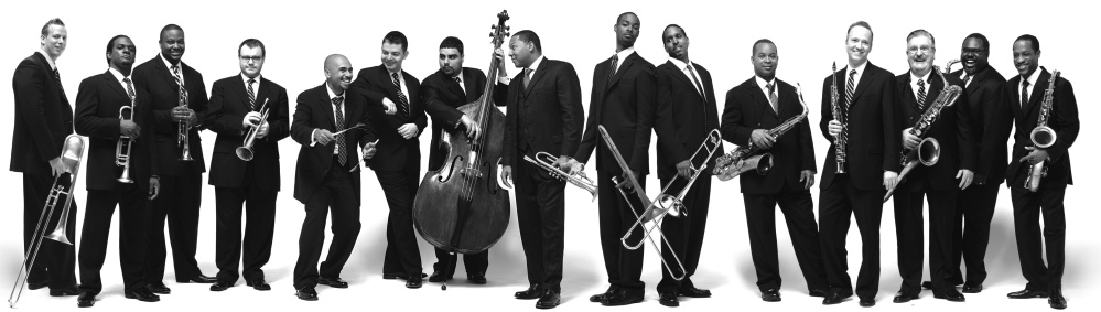 Wynton Marsalis, center, with the Jazz at Lincoln Center Orchestra.