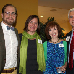 Joshua Bodwell, executive director of Maine Writers and Publishers Alliance; Tammy Ackerman, executive director of Engine; keynote speaker Monica Wood; and Steve Rowe, president of Maine Community Foundation.