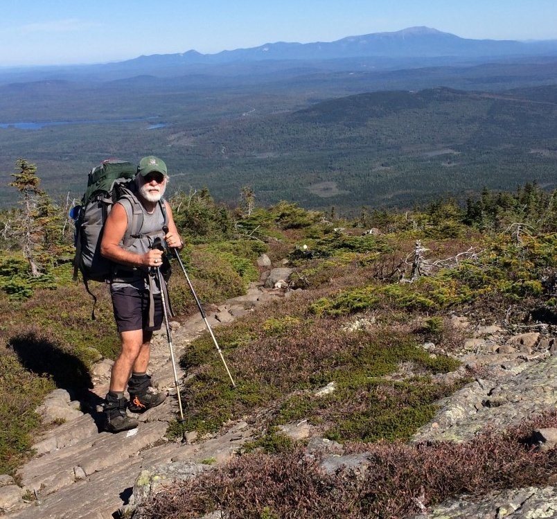 Whitecap Mountain in the background means the end of Carey Kish's latest AT thru-hike is in sight, albeit a distant one.