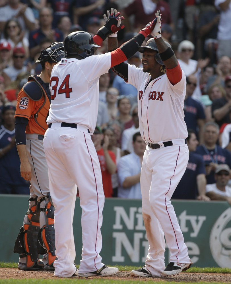 After David Ortiz, left, retires from the Boston Red Sox following the 2016 season, Hanley Ramirez, right, figures to slip into his slot as the full-time designated hitter. That, of course, would open up a spot at first base and more money for the team to invest in a free agent.