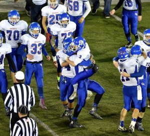 Just as they did the previous two years, Oak Hill players ended their football season with a championship celebration after a 34-21 win over Maine Central Institute in the Class D state final Friday night at the University of Maine.
