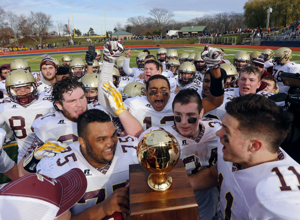 Thornton Academy jumped ahead 14-0, gave up 14 points, then pulled away from Portland for the Class A football state championship on Saturday at Fitzpatrick Stadium in Portland.