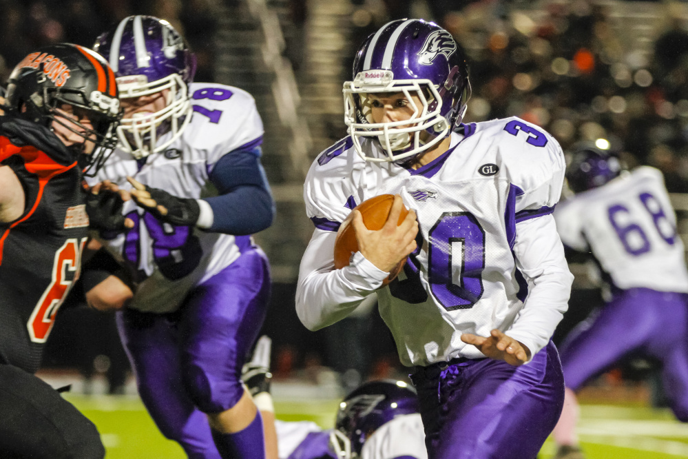 Zach Doyon and Marshwood ran their way to a second straight Class B state title with a 21-14 win over Brunswick.