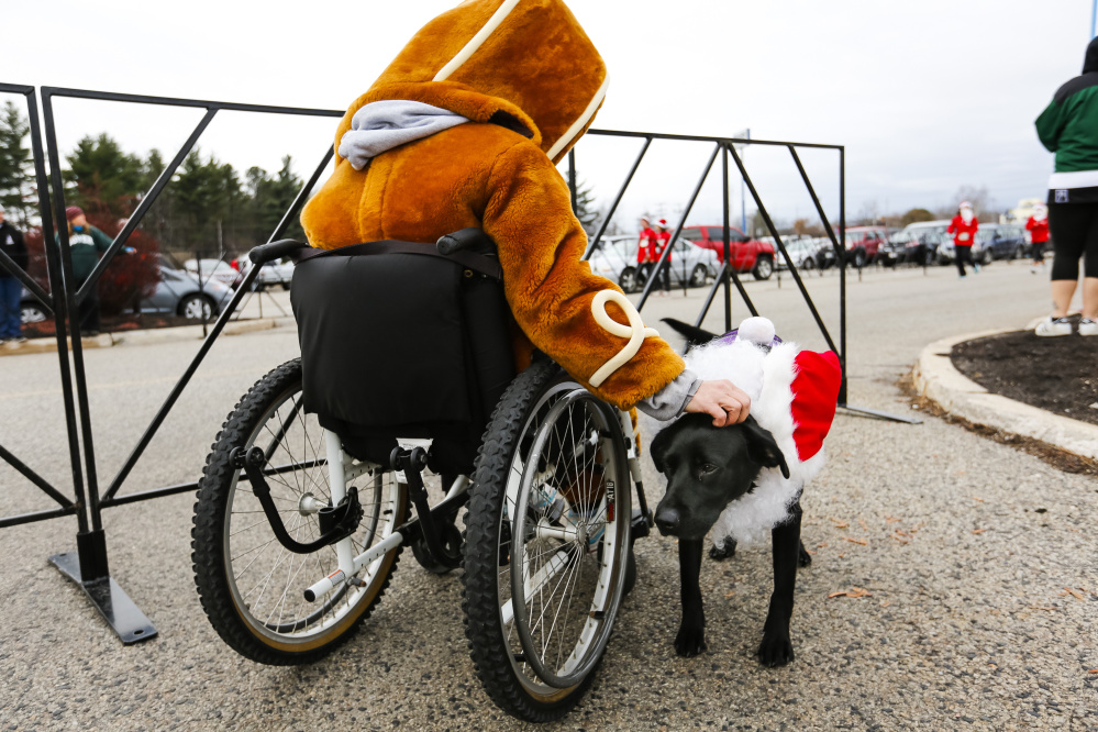 Saco resident Amy James, dressed as a gingerbread man, pets service dog Ebony near the finish line at the annual Santa Hustle Half Marathon and 5K on Sunday at the Maine Mall. James said she was there to support her cousin who ran the race.