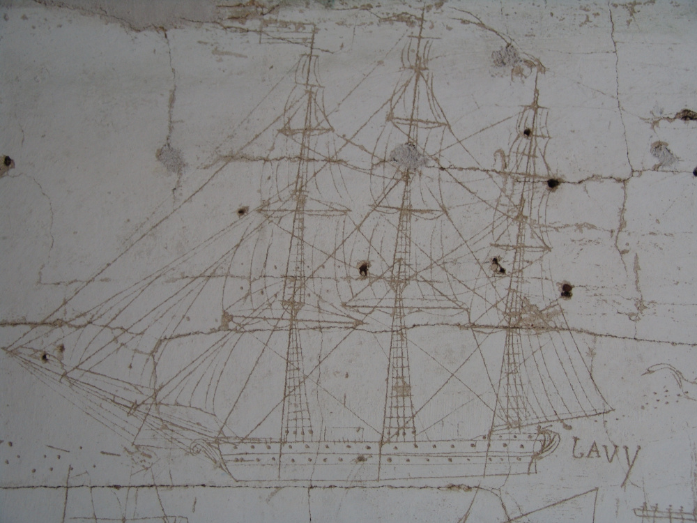 An etching of a ship is one of the many nautical scenes on the walls of the historic Pettengill Farm at Freeport. Photo courtesy James Myall