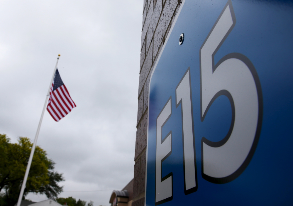 A sign advertising E15, a gasoline containing 15 percent ethanol, is posted at a station in Clive, Iowa. E15 has 50 percent more ethanol than the typical U.S. blend of gas, which has 10 percent ethanol.