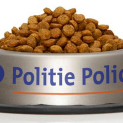 Belgian Federal Police posted this photo on Twitter, showing a bowl of cat food with the name of the police force, as a nod to social media users who responded to police requests to stop posting the locations of police raids. The users instead started posting humorous pictures of cats.