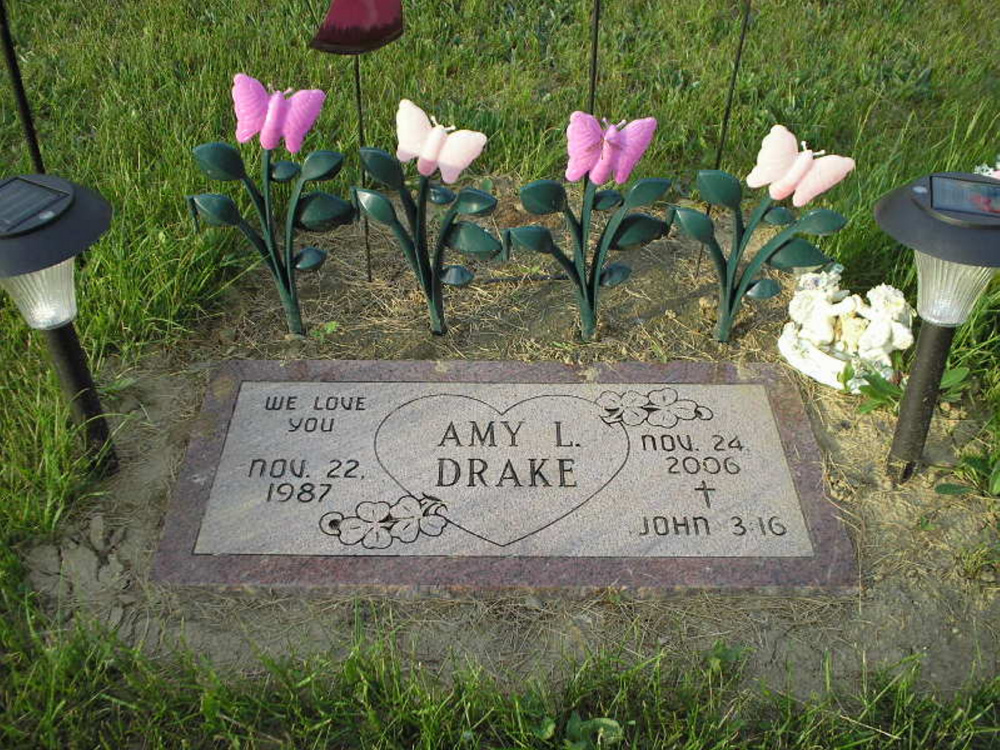 Amy Drake's grave in Livermore Falls. Drake, the mother of a 2-year-old, was murdered in 2006 and police are still actively working on the case nine years after her body was found in Norridgewock.