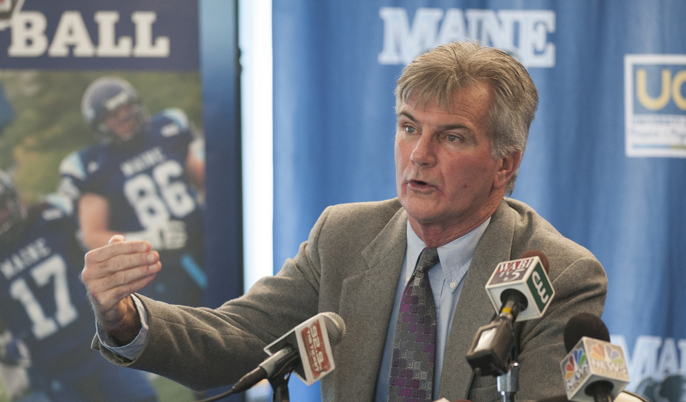 University of Maine football head coach Jack Cosgrove announces on Tuesday that he will step aside from his head coach position to become a senior associate director of athletics.