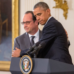 President Obama and French President Francois Hollande embrace during a joint news conference at the White House in Washington on Tuesday. Hollande's visit to Washington is part of a diplomatic offensive to get the international community to bolster the campaign against the Islamic State militants.