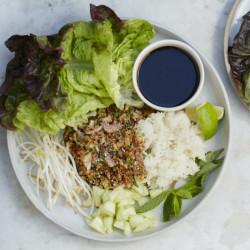 This tofu larb dish is one of the recipes available from the all-vegan meal kit company Purple Carrot.