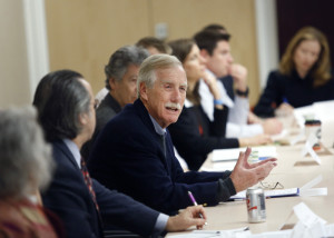 Sen. Angus King hosts a roundtable discussion on opioid prescription abuse at MaineHealth in Portland on Tuesday.