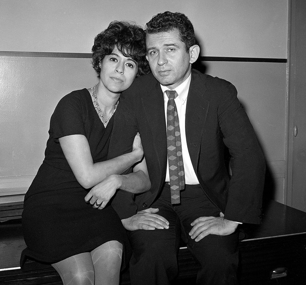 Author Norman Mailer and his then-wife, Adele, sit in court as he faces an assault charge for stabbing her in 1960. Adele Mailer declined to press charges. Norman Mailer died in 2007.