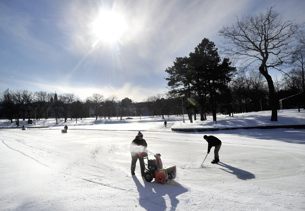 In past winters after the snow fell, crews from the city's public works or athletic facilities departments would be out quickly to clear the ice surface and get Deering Oaks pond in Portland ready for skaters.