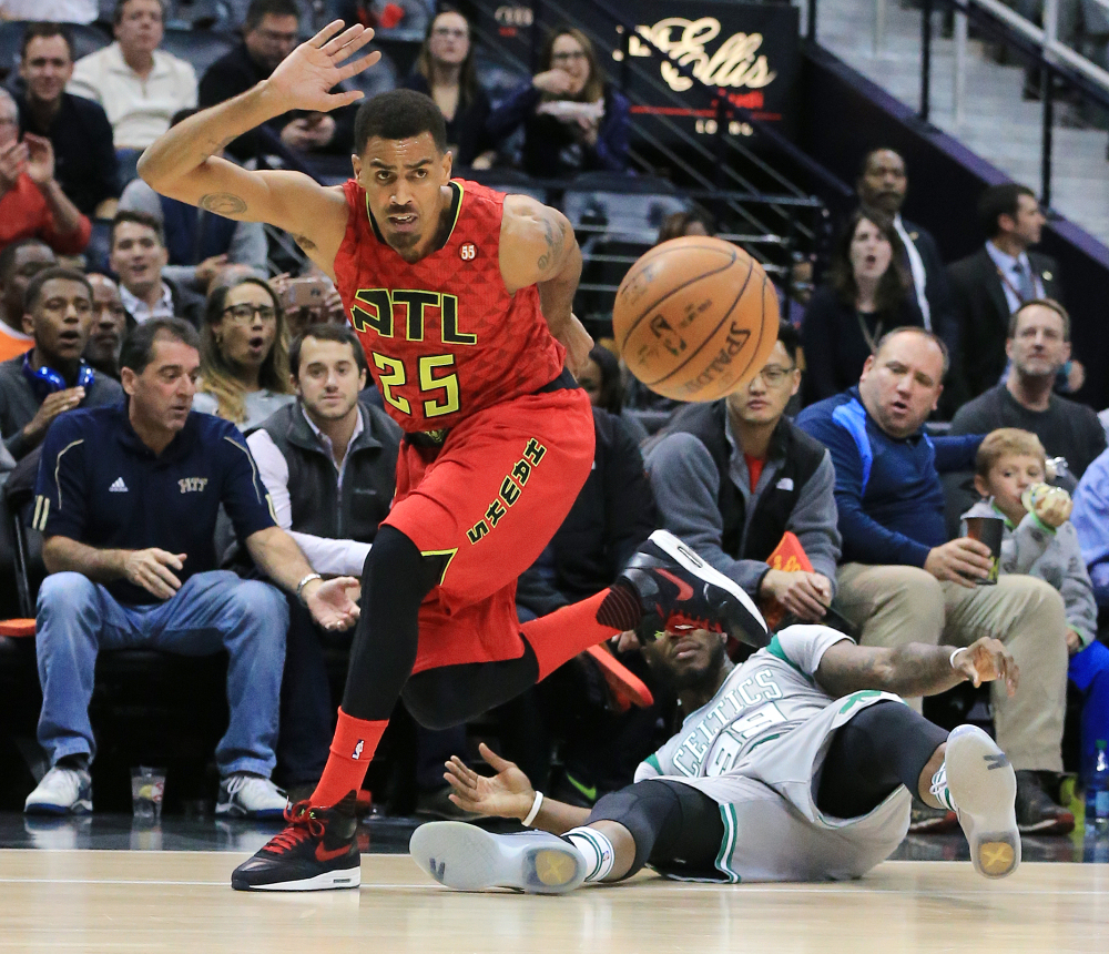 Atlanta's Thabo Sefolosha steals the ball from Boston's Jae Crowder in the first half. The Hawks blew past the visiting Celtics for a 24-point win.