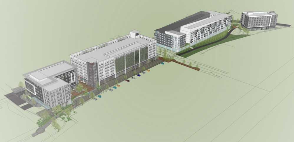 """An architectural rendering of the """"midtown"""" project in Portland's Bayside neighborhood."""