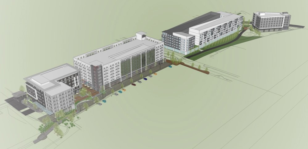 "An architectural rendering of the ""midtown"" project in Portland's Bayside neighborhood."