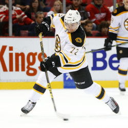 Bruins center Frank Vatrano shoots and scores against the Red Wings in the first period of Wednesday night's game in Detroit. The Bruins came back from a 2-1 deficit late in the third period and won in overtime on another goal by Vatrano.