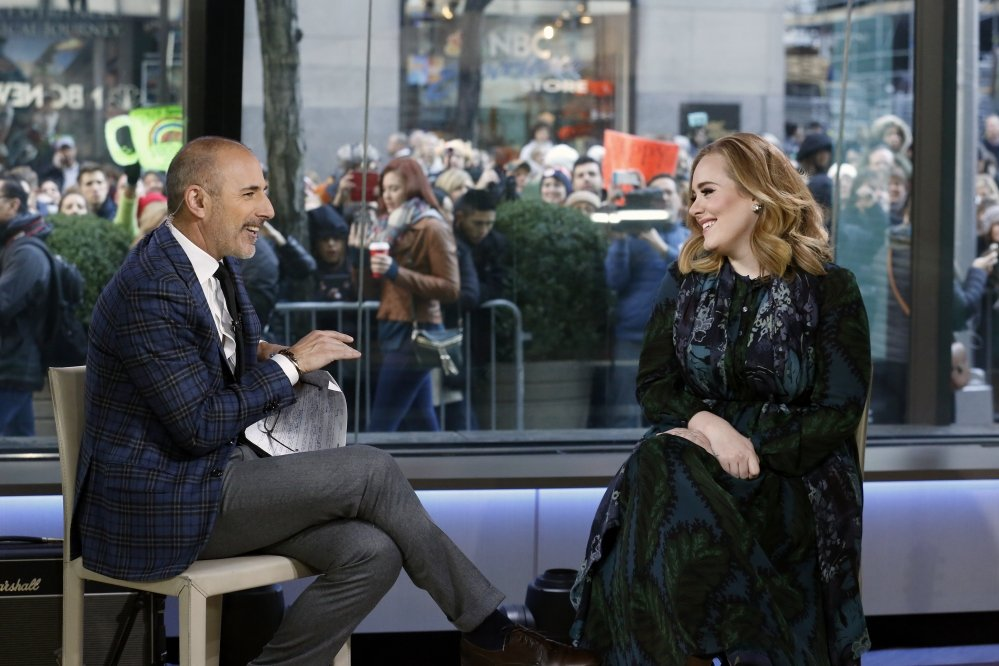 "Matt Lauer and Adele appear on the ""Today"" show on Wednesday."