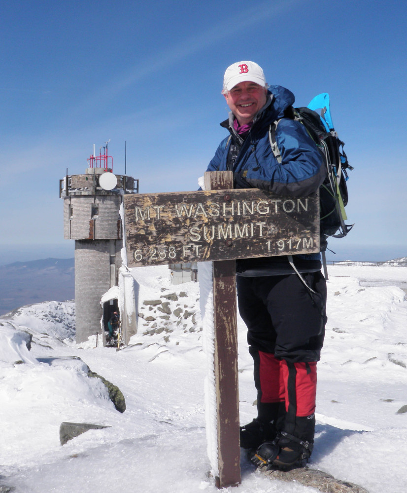 "New Hampshire state Sen. Jeb Bradley reaches the top of Mount Washington in 2012. ""I always say my favorite hike is the next one,"" he said."