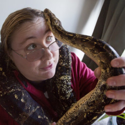 Hades, a red-tailed boa, wraps itself around Karrie Herring at her Scarborough home. Officials in Maine say there are good reasons to limit trade in exotic wildlife, which has flourished thanks to online classified sites; aside from the potential threats to public safety, some invasive species can also pose risks to native fauna.