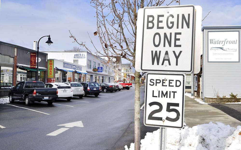 The one-way stretch of Ocean Street between E and D streets has divided residents of the Knightville area of South Portland. Gordon Chibroski/Staff Photographer