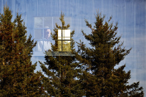 This image of photographer Jeffrey Becton at his studio in Deer Isle was created by exposing the camera's sensor to two separate images, one of the trees outside the studio, as well as the other of him in the window of the studio. Becton often digitally layers his own work.