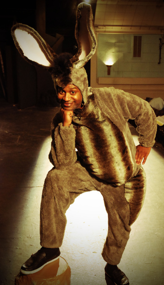 "Thomas Smallwood as Donkey in ""Shrek the Musical."""