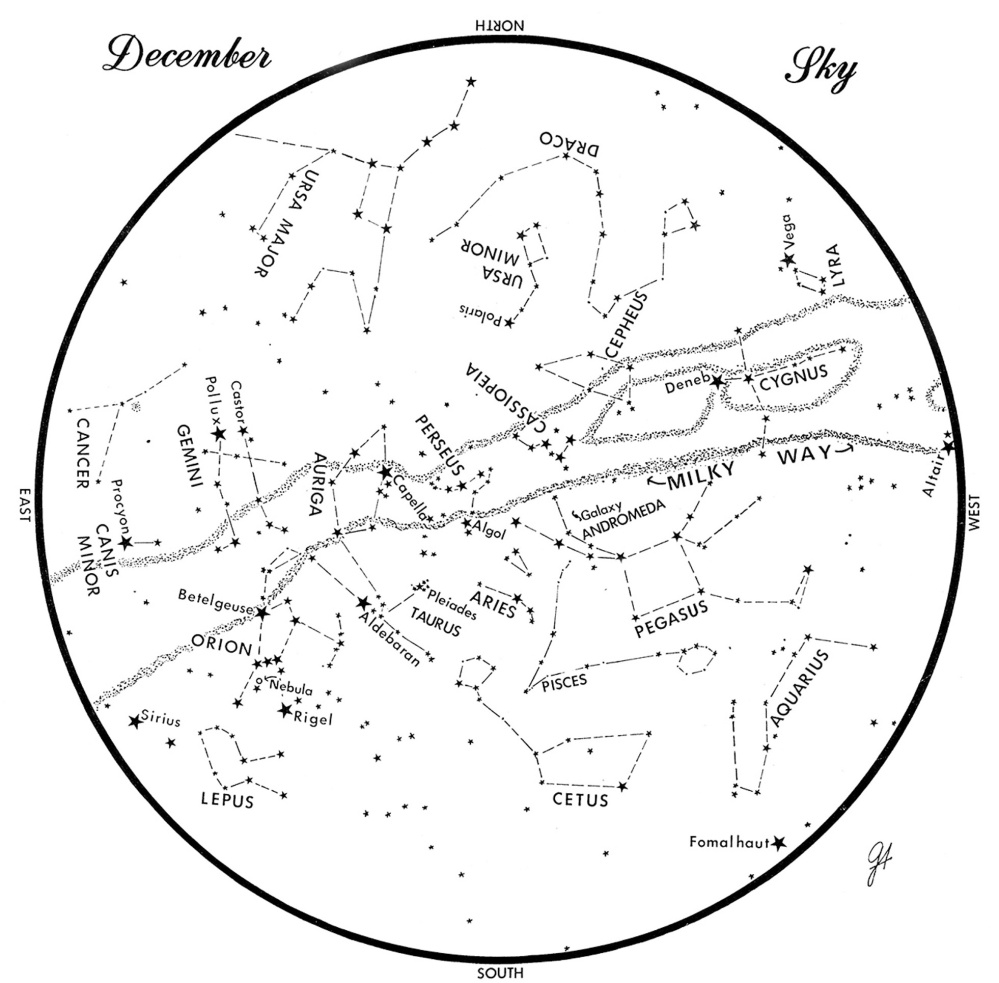 SKY GUIDE: This chart represents the sky as it appears over Maine in December. The stars are shown as they appear at 9:30 p.m. early in the month, at 8:30 p.m. at midmonth and 7:30 p.m. at month's end. To use the map, hold it vertically and turn it so that the direction you are facing is at the bottom.