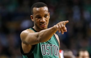 Avery Bradley points to a Celtics teammate in the first quarter of Boston's runaway win against the Washington Wizards on Friday night in Boston. Bradley scored 16 points in the game.