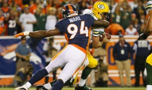 New England's Tom Brady won't have to worry about the menacing presence of Denver's outside linebacker DeMarcus Ware, one of the NFL's all-time sack leaders who will be sidelined for Sunday's game.