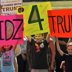 Young fans of Republican presidential candidate Donald Trump attend a campaign rally Saturday in Sarasota, Fla.