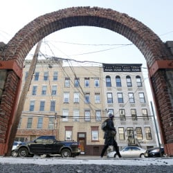 An arch is seen at the spot of singer Frank Sinatra's childhood home in Hoboken, New Jersey. The house burned down in the 1950s. Sinatra would have celebrated his 100th birthday on Dec. 12.